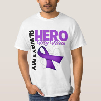 My Niece Always My Hero - Purple Ribbon T-Shirt