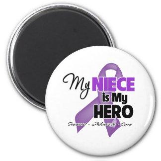 My Niece is My Hero - Purple Ribbon 6 Cm Round Magnet