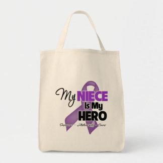 My Niece is My Hero - Purple Ribbon Grocery Tote Bag