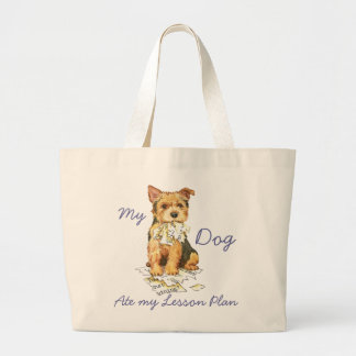 My Norwich Terrier Ate My Lesson Plan Large Tote Bag