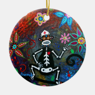 MY NURSING ASSISTANT MONKEY DAY OF THE DEAD CHRISTMAS ORNAMENT