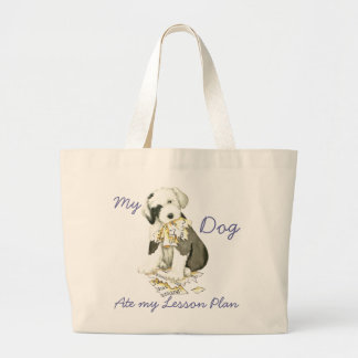 My Old English Sheepdog Ate my Lesson Plan Large Tote Bag