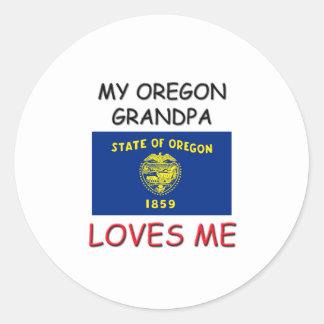 My Oregon Grandpa Loves Me Round Sticker