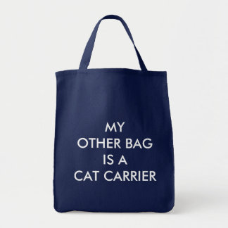 My Other Bag is a Cat Carrier Grocery Tote - Navy