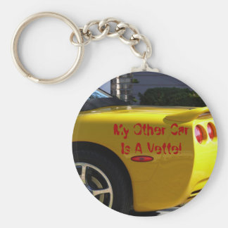 My Other Car Is A Vette! Basic Round Button Key Ring
