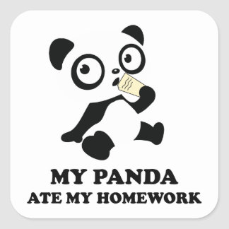 My Panda Ate My Homework Square Sticker