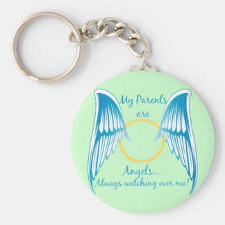 My Parents are Angels Basic Round Button Key Ring