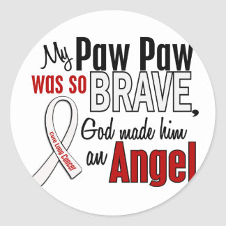 My Paw Paw Is An Angel Lung Cancer Round Sticker