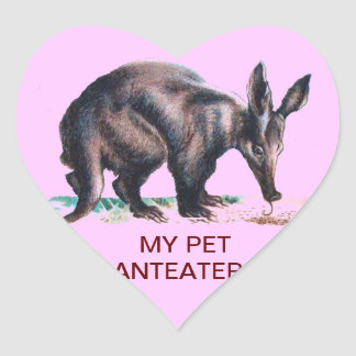 MY PET ANTEATER HEART STICKERS