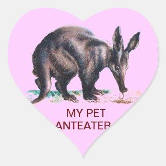 MY PET ANTEATER HEART STICKER