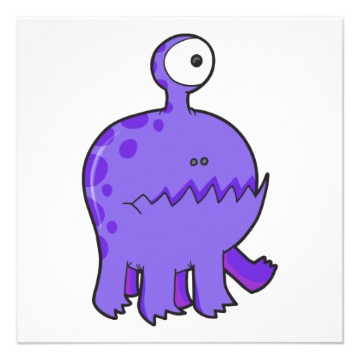 my pet cyclops monster purple personalized invites