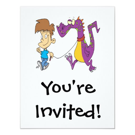my pet dragon funny cartoon 11 cm x 14 cm invitation card
