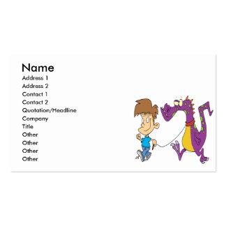 my pet dragon funny cartoon business card template