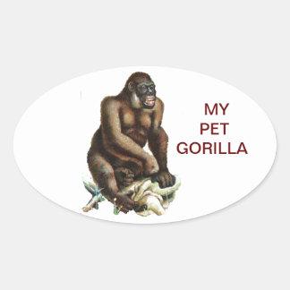 MY PET GORILLA OVAL STICKER