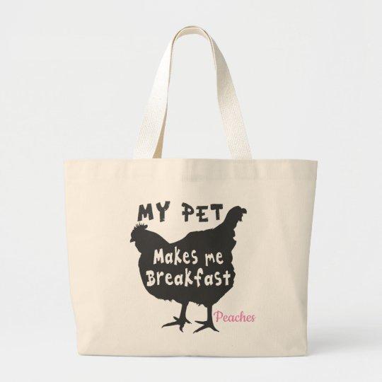 My Pet Makes Me Breakfast Large Tote Bag
