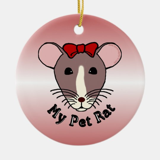 My Pet Rat (w/Red Bow) Christmas Ornament