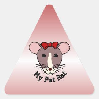 My Pet Rat (w/Red Bow) Triangle Sticker