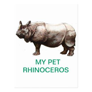 MY PET RHINOCEROS POSTCARD