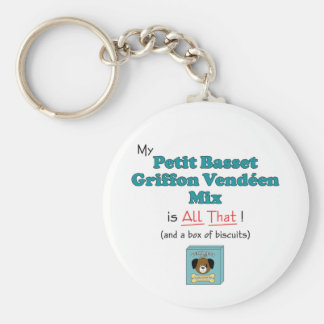 My Petit Basset Griffon Vendeen Mix is All That! Basic Round Button Key Ring