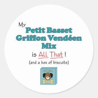 My Petit Basset Griffon Vendeen Mix is All That! Round Sticker