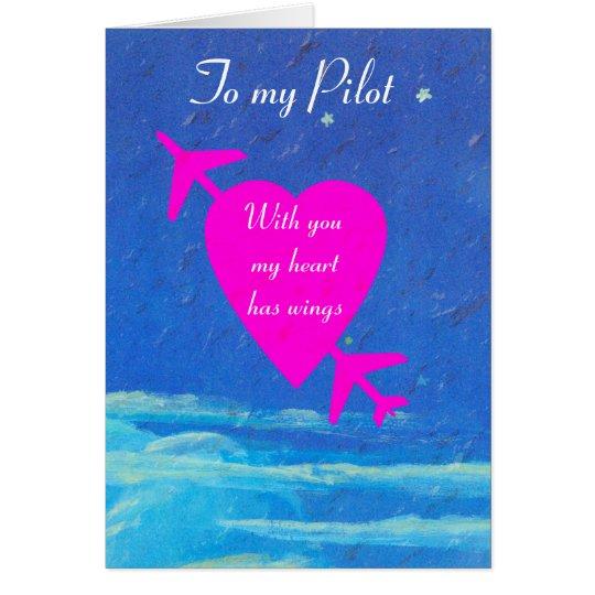 My Pilot Valentine-pink heart in sky Card