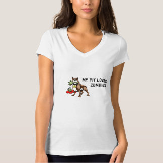 My Pit Bull Loves Zombies Shirt - Funny Slogan