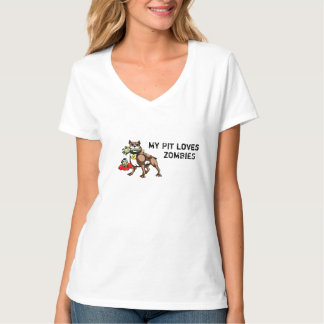 My Pit Bull Loves Zombies Tee Shirt - Funny Slogan