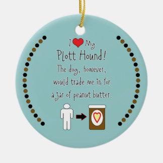 My Plott Hound Loves Peanut Butter Christmas Ornament
