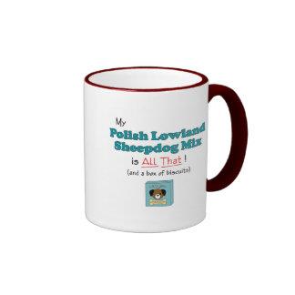 My Polish Lowland Sheepdog Mix is All That! Ringer Coffee Mug