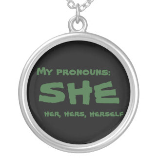 My Pronouns She Silver Plated Necklace