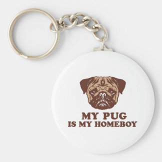 My Pug is my Homeboy Basic Round Button Key Ring