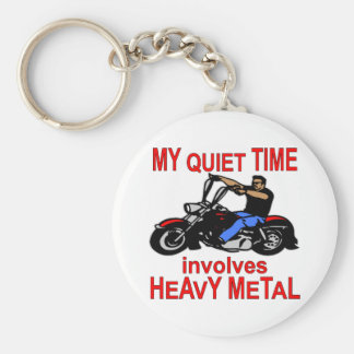 My Quiet Time Involves Heavy Metal Biker Basic Round Button Key Ring