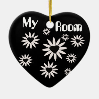My Room, black and white flowers with hearts Christmas Ornament