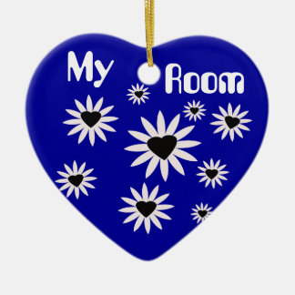 My Room, black & white flowers with hearts on blue Christmas Ornament