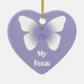 My Room, purple & white butterfly Christmas Ornament