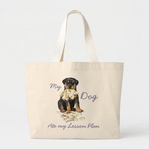 My Rottweiler Ate My Lesson Plan Tote Bags