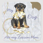 My Rottweiler Ate My Lesson Plan Square Stickers