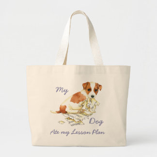 My Russell Terrier Ate My Lesson Plan Large Tote Bag
