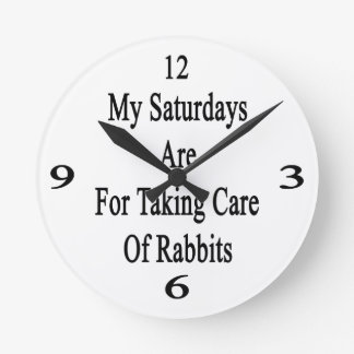 My Saturdays Are For Taking Care Of Rabbits Round Wall Clocks