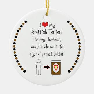 My Scottish Terrier Loves Peanut Butter Christmas Ornament