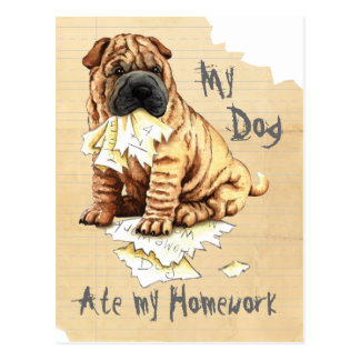 My Shar-Pei Ate My Homework Postcard