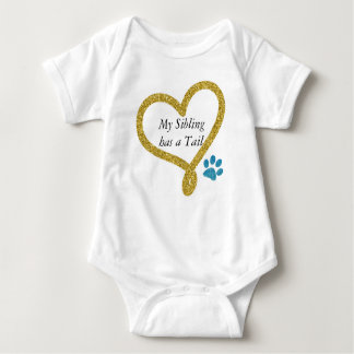 My Sibling has a Tail blue paw print Baby Bodysuit
