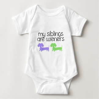 My Siblings are Wieners | 2 Dachshunds design Baby Bodysuit