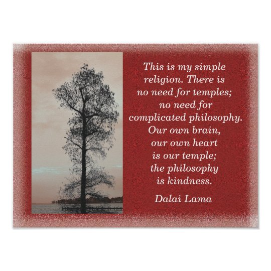 My Simple Religion - Dalai Lama quote -art