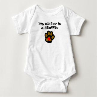 My Sister Is A Staffie Baby Bodysuit