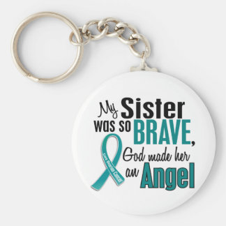 My Sister Is An Angel 1 Ovarian Cancer Keychains