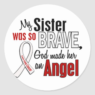 My Sister Is An Angel Lung Cancer Classic Round Sticker
