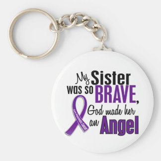 My Sister Is An Angel Pancreatic Cancer Basic Round Button Key Ring