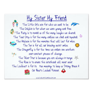 MY SISTER My Friend poem with graphics 11 Cm X 14 Cm Invitation Card