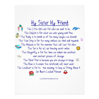 MY SISTER My Friend poem with graphics 21.5 Cm X 28 Cm Flyer